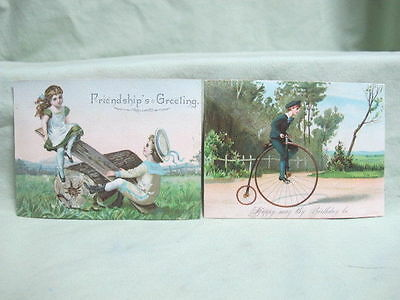 Antique 2 cards Friendship Greeting one high Wheel Bicycle