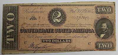 1864 Confederate States of America $2 Note Richmond Civil War Currency