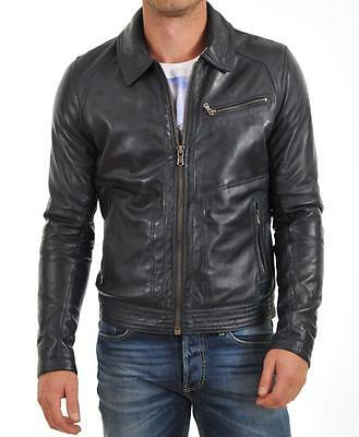 New Men's Genuine Lambskin Leather Jacket Black Slim fit Biker Motorcycle jacket
