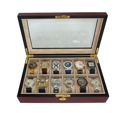 12 (10 + 2) Cherry Wood Watch Display Case Box Glass Top Collector Storage Gift