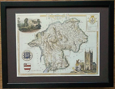 Old County Map wall art -12''x16'', Framed Westmoreland map