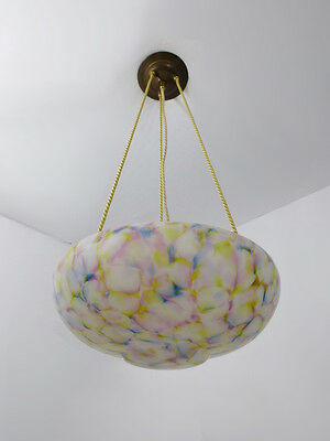 Beautiful & Rare Multi-Color Glass Art Deco Ceiling Light Chandelier 1930s