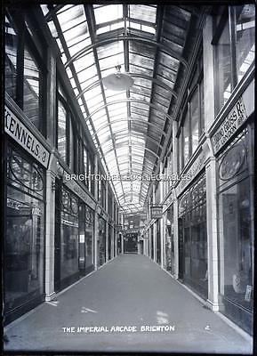 1920's IMPERIAL ARCADE INTERIOR SHOPS BRIGHTON SUSSEX LARGE GLASS PLATE NEGATIVE