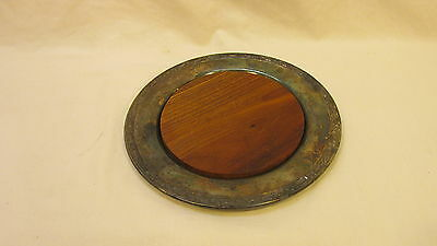 """VINTAGE ONEIDA SILVERSMITHS SILVER-PLATE 7-1/2"""" SAUCER w/ REMOVABLE WOOD CENTER"""