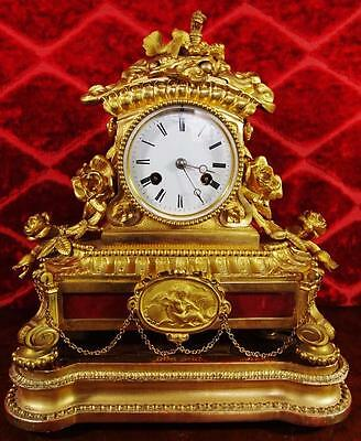 Antique French S.Marti 19th c gilt bronze 8 day mantle clock on original base