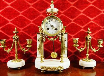 Antique 19th c French A.D.Mougin brass & White Marble portico Mantle Clock Set