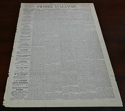 Rare 1873 Ghost Town Newspaper THE OWYHEE AVALANCHE Silver City, Idaho Territory