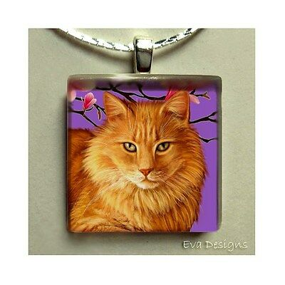 Long Haired Orange Tabby Cat Art Pet Jewelry Charm Necklace Glass Tile Pendant