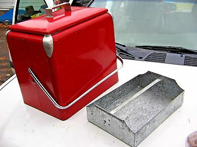 Vintage 1950 Progress Refrigerator Metal Chest Cooler W/TRAY VW Rat Rod Display