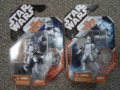 "Star Wars Saga Legends 3.75"" clone trooper action figures AOTC/ROTS pair NMIB"