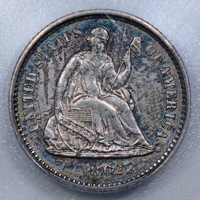 1862 H10C Liberty Seated Half Dime ICG MS61