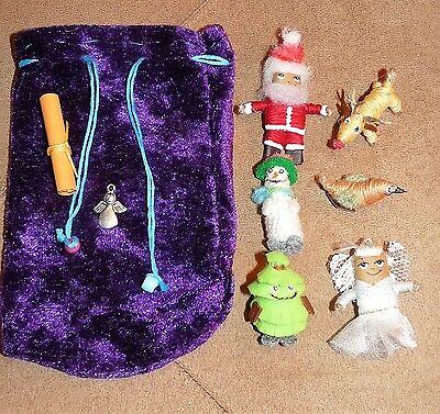 6 x Handmade Christmas Worry Dolls With Pouch....