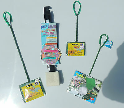 SET OF 3 NETS & ALGAE SCRUBBER - Extra long for marine and tropical fish tanks