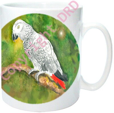 1 x African Grey Parrot Mug, Quality Ceramic Mug, Birthday Gift from painting