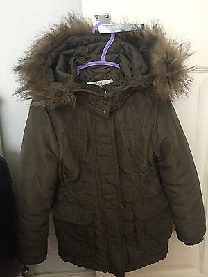 Girls H&M khaki winter coat with fur hood size 4-5 years
