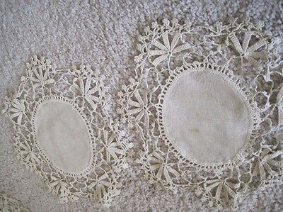 Two Antique Ivory Linen and Crocheted Doilies