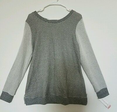 NEW Women's Liz lange Maternity Long Sleeve Sweater Top Gray/Black Size Large