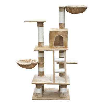 S# Cat Tree 122 Beige Pet Scratcher Post Poles Scratching House Gym Cando Furnit