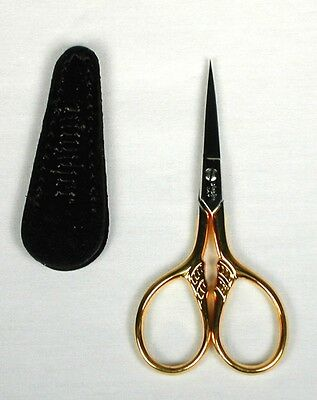 """*NEW* Gingher Golden Lion's Tail 3.5"""" Embroidery Scissors for Needlepoint w/Case"""