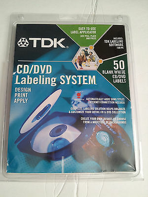 TDK CD/DVD Labeling System w/Software, 50 Blank Labels, New Unopened Package