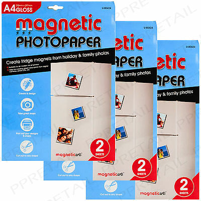 6 x MAGNETIC GLOSS PHOTO PAPER A4 Inkjet Sheet CREATE PICTURE FRIDGE MAGNETS