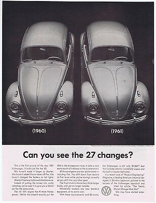 VW Original 1961 27 Changes Vintage Volkswagen History Car Ad Free Shipping