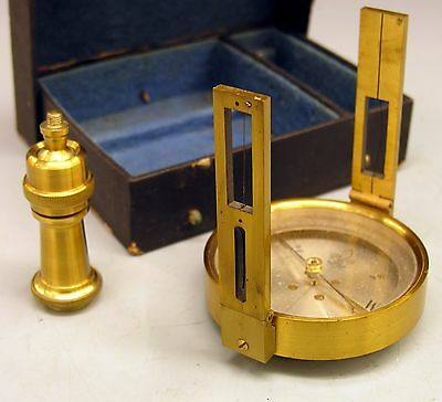 ~ Very Nice Folding Sight-Vane Surveying COMPASS Fine Condition, w/Case ~