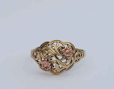 Ladies Filigree Fleur-de-lis Vine Dome Bi-Gold Ring  - 10k Yellow & Rose Gold