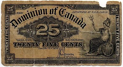 1900 Dominion of Canada - 25 Cent Bank Note (Saunders)