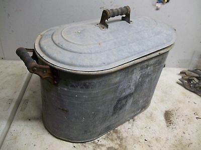 Old Steel Wash Boiler Laundry Tub with Lid  for  Flower Pot Garden Planter