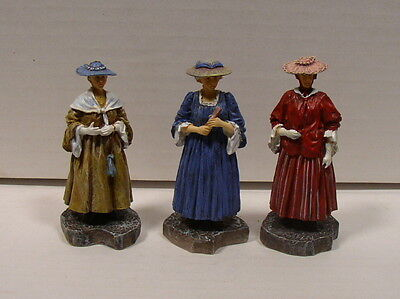 Lang & Wise Colonial Williamsburg Strolling Women Set of 3 Nice Condition/No Box