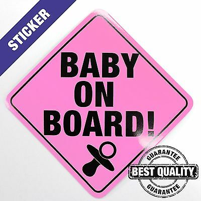 Baby On Board -  PINK Sticker - Bumper Car and Window Decal - Outdoor