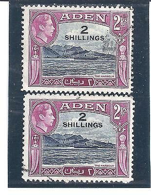 ADEN...# 44a x 2  ( 2sh Surcharge on #25a )...1939/48...Used...SCV  $ 17.50