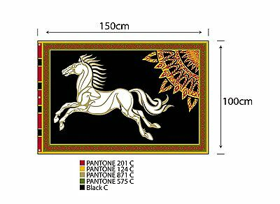 """Black """"ROHAN"""" Lord of the Rings Flag/Banner-Large 5' x 3' Imported Germany(FW)"""