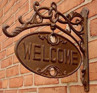 Rustic ornate Cast Iron Front Door Gate Welcome/GO AWAY Sign Funny Home Decor
