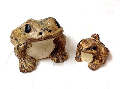 2 VINTAGE Clay Made in Japan TOAD FROG with BABY Figurines
