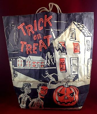 Vintage Halloween Large Treat Bag-Early 60's- Great Graphics
