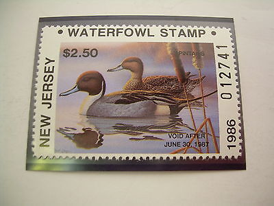 New Jersey Waterfowl Stamp ~ NJ-3 ~ 1986 ~ Mint NH MNH ~ Resident ~ Duck