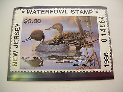 New Jersey Waterfowl Stamp ~ NJ-3A ~ 1986 ~ Mint NH MNH ~ Non - Resident ~ Duck