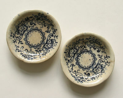 2 Butter Pats Selby England Antique Blue and White Pattern 3-Inch Round