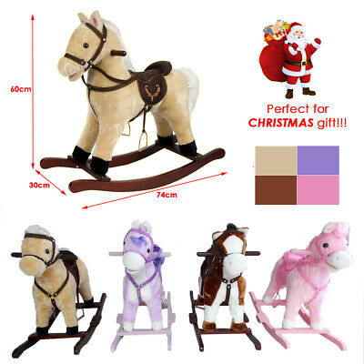 Rocking Horse Kids Childrens Moving Mouth Tail Sound Effects Pony Horses Xmas Uk