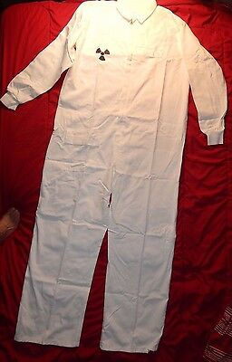 White Coverall XL 50  Cotton Work Shop Nuclear Emblem Bee Suit with cuff Painter