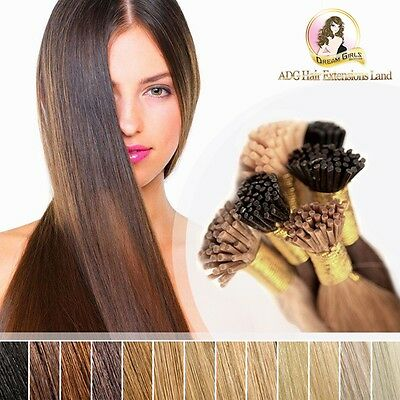 "20"" Real European Remy Hair Micro Beads Ring I Tip Extensions 25pcs Black Brown"