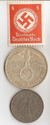 -4-antique *WW2 -  SILVER  and   ZINK   - *us   and - *german coins/stamp++