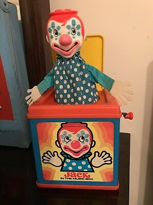 "Vintage 1976 Mattel ""Jack in the Music Box""~Wind up/Pop up Clown/Toy~EUC"