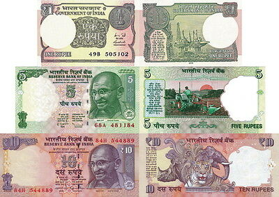 INDIA - Lotto 3 banconote 1/5/10 rupees FDS - UNC