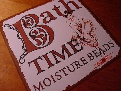 BATH TIME MOISTURE BEADS Old West Western Style Lettering Bathroom Sign Decor
