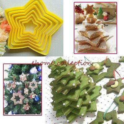 Xmas Mold Cookie Cake Cutters Mould 6pcs Stars Christmas Decorating Baking Tools