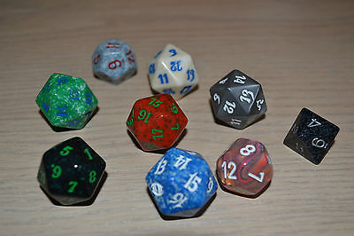 Lot #4 Vtg Casino Dice/assorted/plastic Lucite Marbleized/polyhedron&octagon