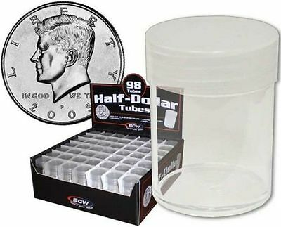 Lot of (10) BCW Round Half Dollar Coin Tubes Clear with Frosted Screw On Lids